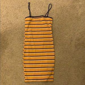 Striped halter body con dress